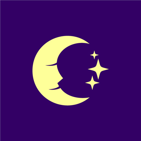 crescent: Moon face with stars and deep blue sky illustration.