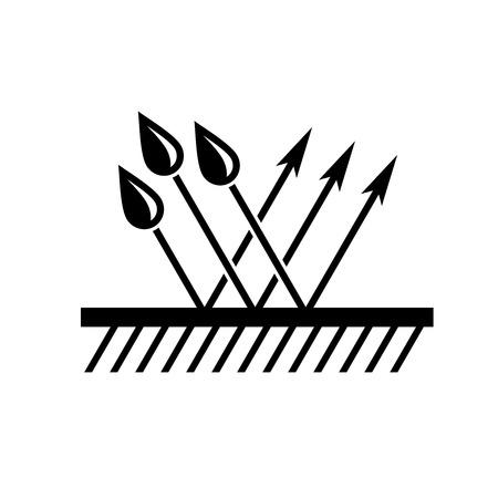 kropla deszczu: Wodoodporna symbolem. Nawierzchnia z kropli wody i strzały odrzuceń. Koncepcja wodoodporne.