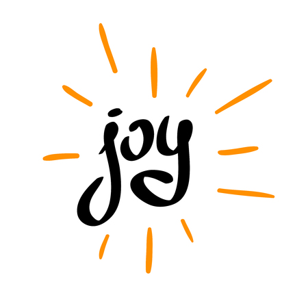 Joy word calligraphic with scattered rays. Hand writing simple font style.