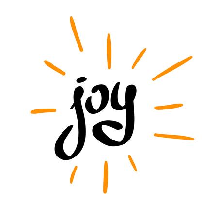 La gioia parola calligrafici con raggi sparsi. Mano che scrive semplice stile del carattere.
