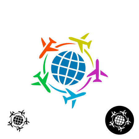 Travel  concept. Planet earth globe symbol with color planes flying around.