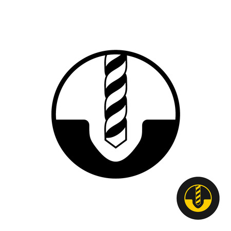 Drilling symbol. Black drill bit with hole in a surface icon.