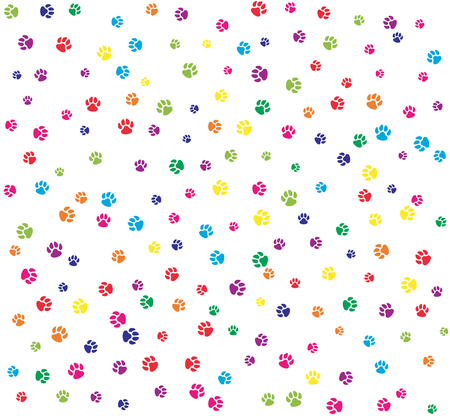 paws: Pet paws colorful on white seamless pattern background.