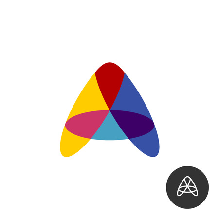 Letter A colorful overlay transparent   from oval shapes. Transparency are flattened.