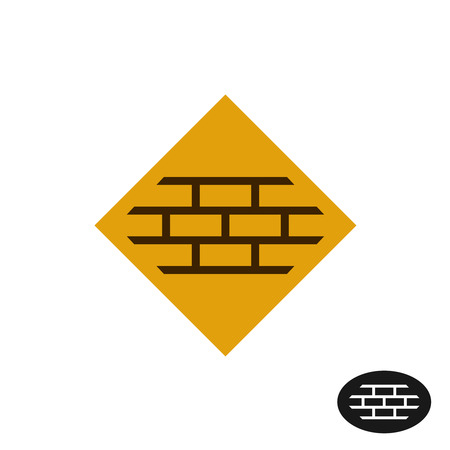 building bricks: Bricks wall. Part of a brick wall on a square background. Building company or tiles industry