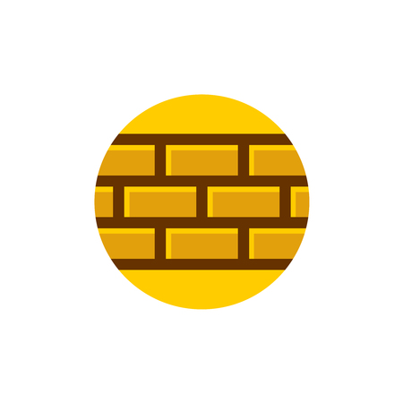 Bricks wall. Part of a brick wall on a round background. Building company or tiles industry template.