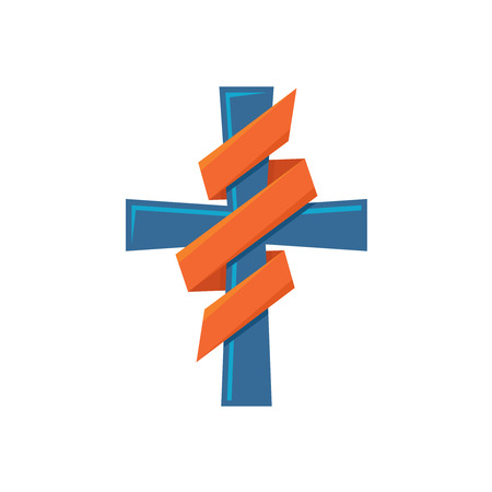 Religion cross with decorative ribbon around colorful