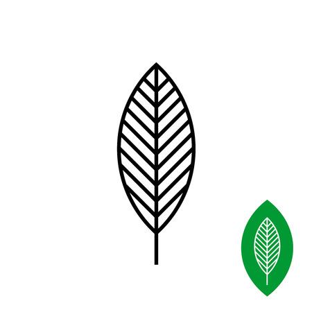 tree symbol: Leaf linear black symbol. One black tree leaf grille.