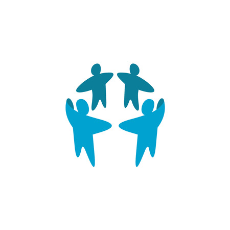 symbol people: Teamwork  template. Four people in a round symbol.