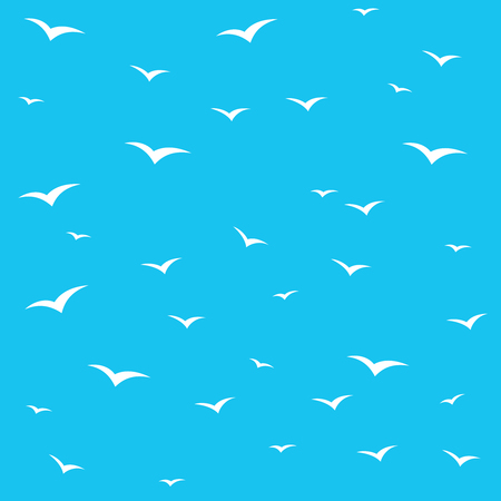 swarm: Seagulls swarm or other birds silhouette seamless pattern background. White on blue skies.
