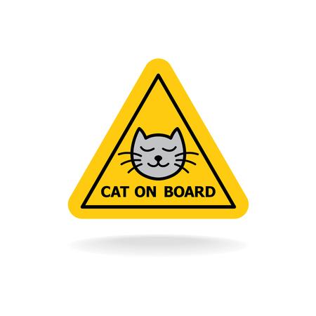 Cat a bordo segno simile al bambino a bordo o bambino in un adesivo giallo automobile triangolo.