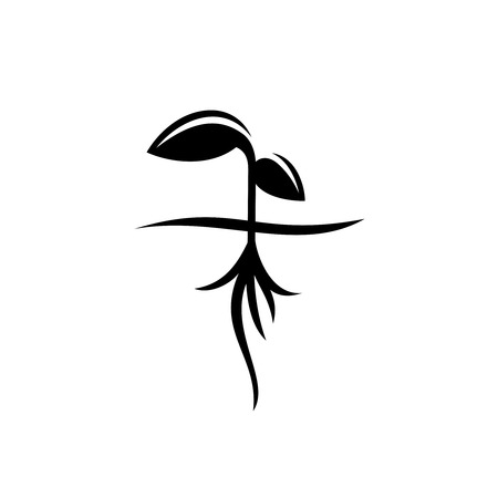 sprout: Sprout with roots black silhouette Illustration