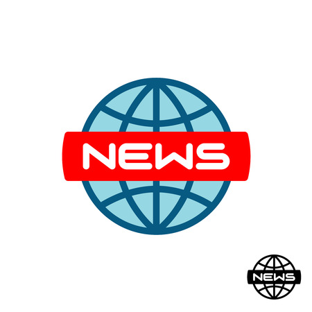 News global. World news icon. Text with earth globe symbol.