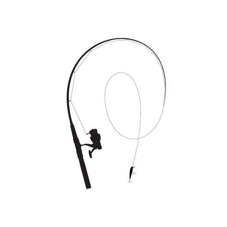 minnow: Fishing rod black silhouette. Rod with reel, line and minnow with hooks.
