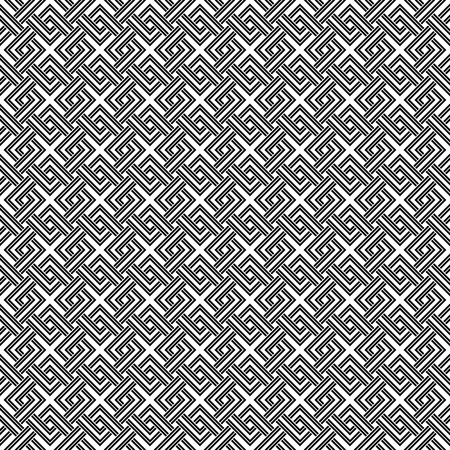 weave: Geometric weave cross squares seamless pattern. Black and white contrast colors.