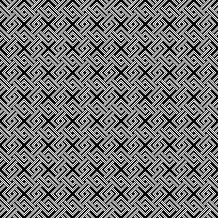 weave: Geometric weave cross squares seamless pattern. Black and white contrast colors. White elements on black. Illustration