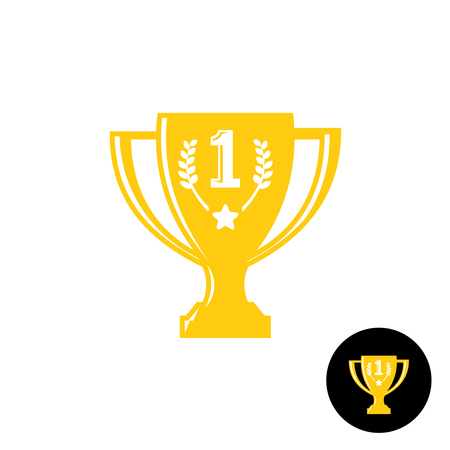 the first prize: Golden winner cup trophy. First prize symbol. Illustration