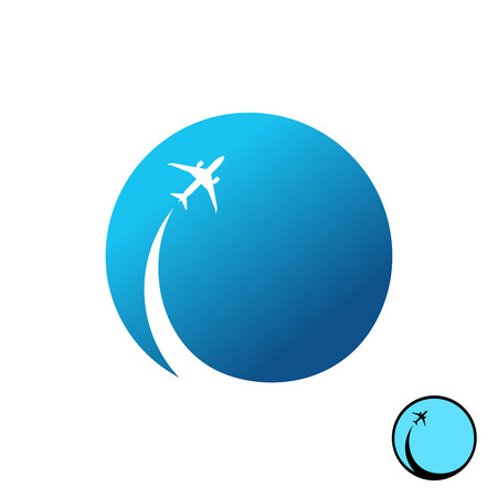jet airplane: Airplane with sky round  . Jet plane with inversion trail with blue sky round background illustration.