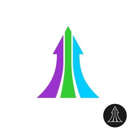 next: Three ways arrow up logo template. Motivation symbol, grow.