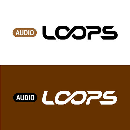 Loops text logo with infinity sign inside. Musical term.