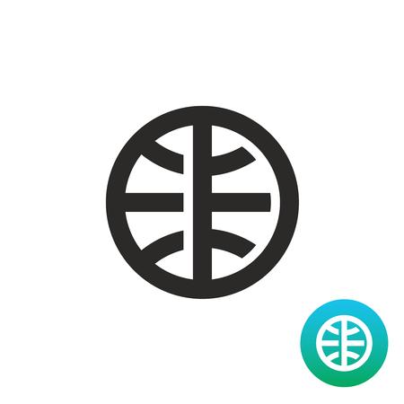 simple logo: Earth globe simple black linear icon. Planet Earth bold lines stylized logo.