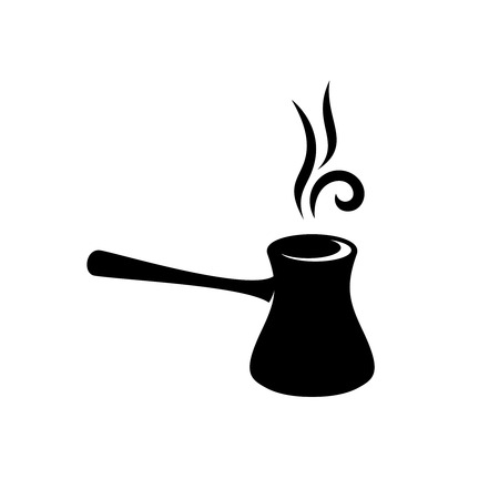cezve: Cezve turkish coffee black silhouette with hot steam lines above Illustration