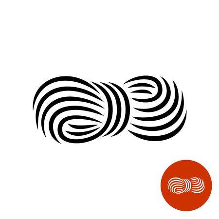 黒糸エレガントなアイコン。糸のロゴのロール。  イラスト・ベクター素材