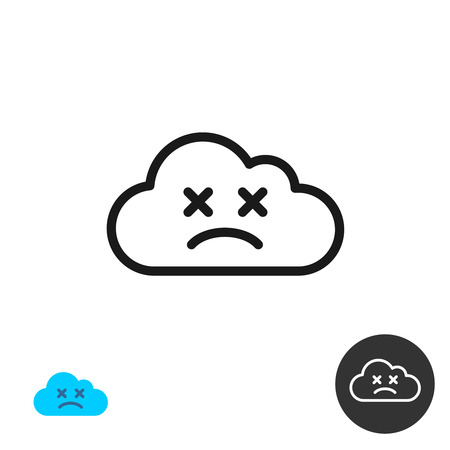 disconnect: Sad face cloud icon. Linear style lost connection symbol.