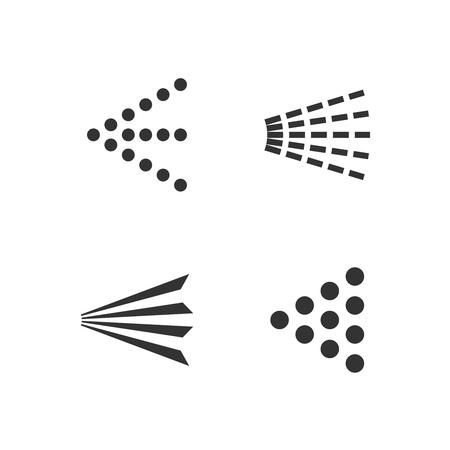 Spray icons set. Simple black fluid spray cloud symbols. Illustration