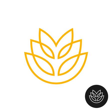 abstract mill: Wheat ear linear style logo. Thin line bakery symbol.
