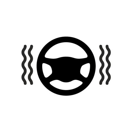 warmer: Driving wheel warmer icon. Black silhouette of car steering wheel with heat waves.