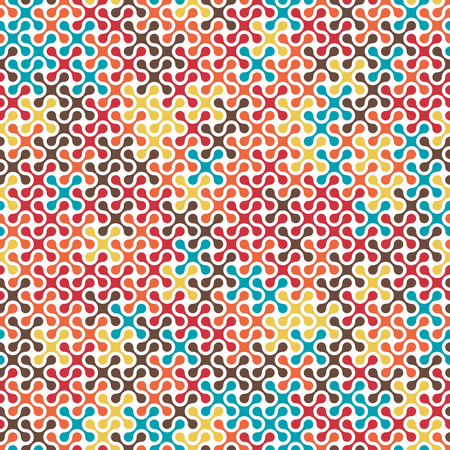 cosmo: Tech colorful rounded crosses seamless pattern background. Meta balls color repeated texture.