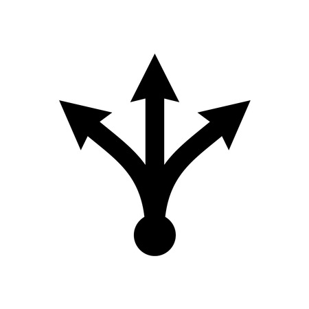 Three-way directional arrow. Simple black triple arrow heads sign.