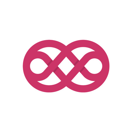 Knot logo with rounded wide border crossed lines. Purple color abstract symbol. Illustration