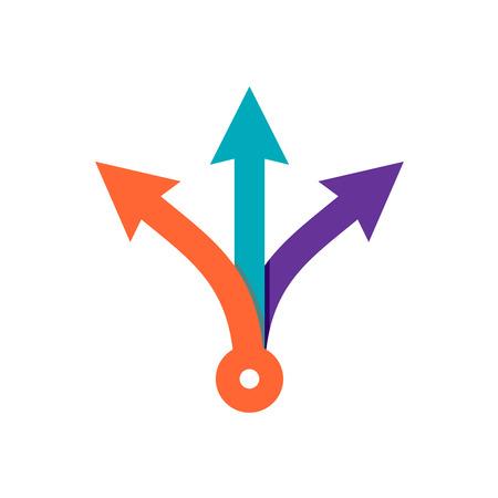 Drie-richting pijlen. Eenvoudige kleur driedubbele pijlkoppen ondertekenen.