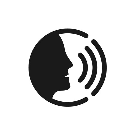 human voice: Voice command control with sound waves icon. Black man head silhouette speaking logo.