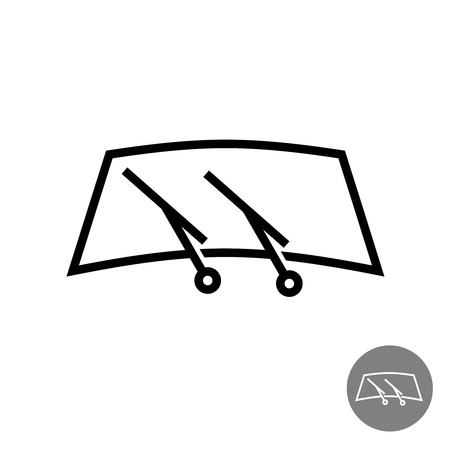 car glass: Windshield car glass with two wipers illustration Illustration