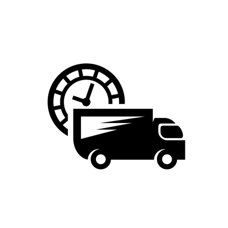 Fast delivery truck vector icon. Van car with clock timer black logo.