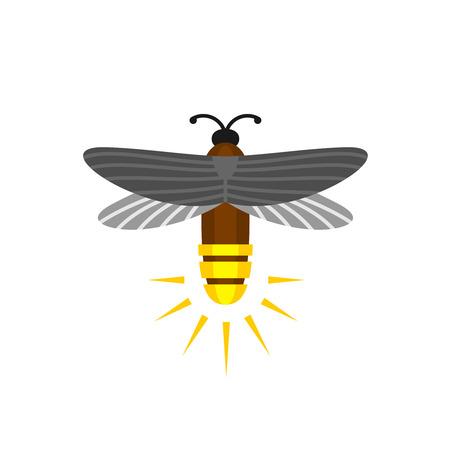 aislado de la luciérnaga de dibujos animados. Luciérnaga insecto del vuelo con el icono de la grupa luz. Ilustración de vector