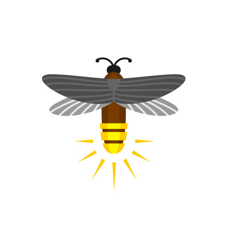 yellow and black: Firefly isolated cartoon. Firefly bug flying with light rump icon.