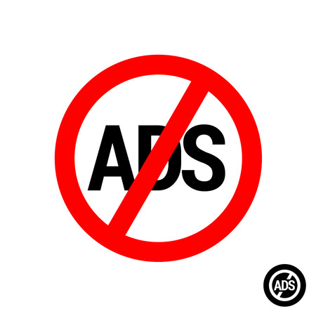 No ads icon. Remove advertisement for mobile applications and other. Ads free sign. Illustration