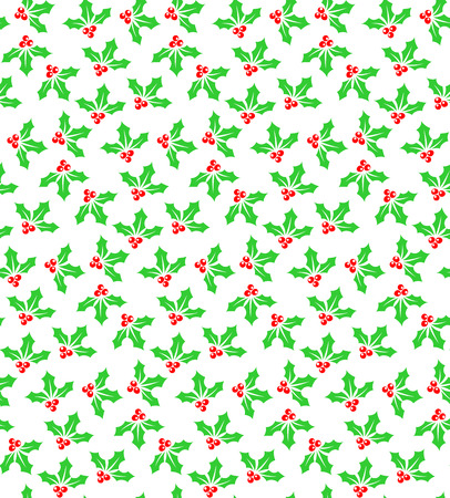aquifolium: Holly berries seamless pattern background. Christmas symbol silhouettes red and green colors on white.