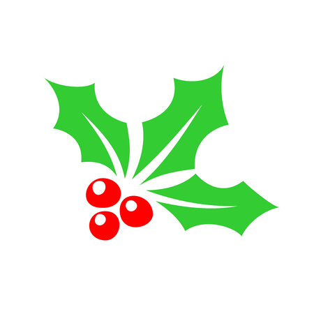 aquifolium: Holly berry color icon. Christmas symbol silhouette. Illustration