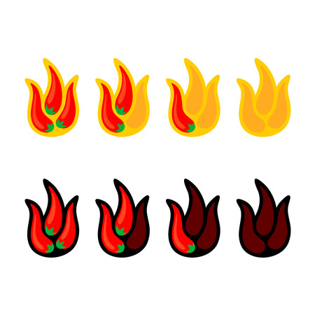 Red hot chili peppers in a shape of fire flames showing hot value scale Illustration