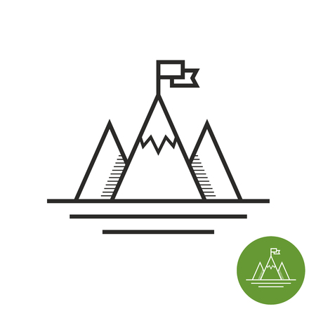 achievment: Success icon. Mountains with flag on a peak as aim achievment or leadership illustration.