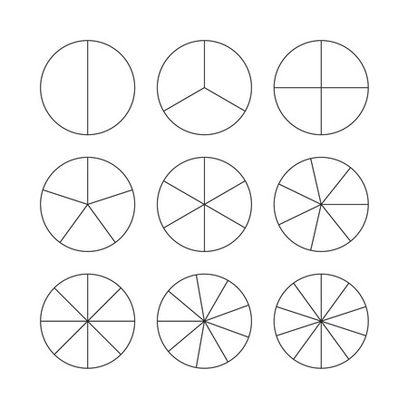 Circle segments set. Various number of sectors divide the circle on equal parts. From 2 to 10. Black thin outline graphics.