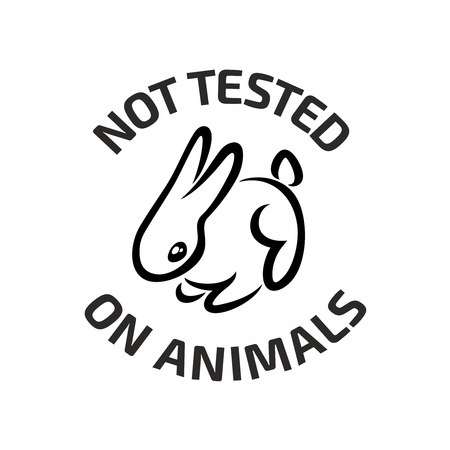 Tests sur des animaux. lapin mignon petit texte non testé sur les animaux autour. Couleur noire.