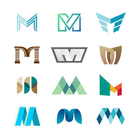 Letter M logo set. Color icon templates design.