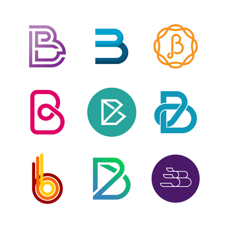 Letter B logo set. Color icon templates design.