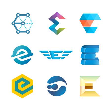 Letter A logo set. Color icon templates design. 스톡 콘텐츠
